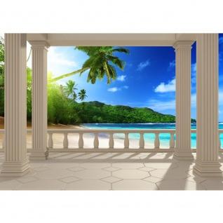 Fototapete Terrace View Caribbean Meer Tapete Ausblick Terrasse 3D Strand Beach Meer Sonne Palmen blau   no. 121
