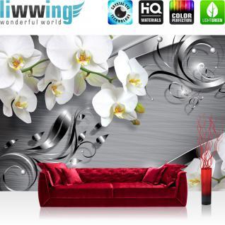liwwing Vlies Fototapete 350x245 cm PREMIUM PLUS Wand Foto Tapete Wand Bild Vliestapete - Orchideen Tapete Ornament Orchidee Blüte Blume grau - no. 603