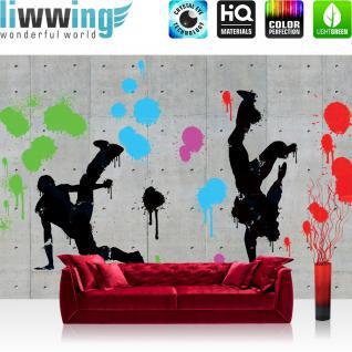 liwwing Vlies Fototapete 208x146cm PREMIUM PLUS Wand Foto Tapete Wand Bild Vliestapete - Graffiti Tapete Steinwand Steinoptik Graffiti Breakdance Flecke grau - no. 2849