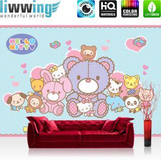 liwwing Fototapete 368x254 cm PREMIUM Wand Foto Tapete Wand Bild Papiertapete - Mädchen Tapete Hello Kitty - Kindertapete Cartoon Katzen Kuscheltiere Herzen Freunde blau - no. 508