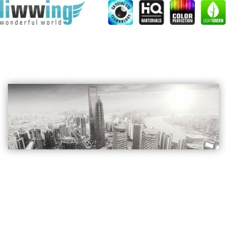 Leinwandbild Black and White Shanghai Sunset Skyline Skyline Shanhai Wolkenkratzer | no. 49 - Vorschau 4