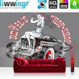 liwwing Vlies Fototapete 312x219cm PREMIUM PLUS Wand Foto Tapete Wand Bild Vliestapete - Illustrationen Tapete Auto Oldtimer Frau Chop Shop RT 666 Totenkopf grau - no. 2848