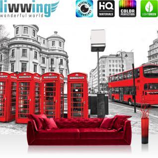 liwwing Vlies Fototapete 312x219cm PREMIUM PLUS Wand Foto Tapete Wand Bild Vliestapete - London Tapete London Bus Telefonzelle schwarz weiß - no. 1296