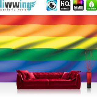 liwwing Vlies Fototapete 400x280 cm PREMIUM PLUS Wand Foto Tapete Wand Bild Vliestapete - Illustrationen Tapete Regenbogen Flagge Fahne Regenbogenfahne Hoffnung Akzeptanz bunt - no. 1041