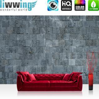 liwwing Vlies Fototapete 350x245 cm PREMIUM PLUS Wand Foto Tapete Wand Bild Vliestapete - Steinwand Tapete Steinmauer Steinwand Steinoptik anthrazit - no. 691