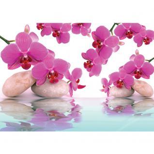 liwwing Vlies Fototapete 400x280 cm PREMIUM PLUS Wand Foto Tapete Wand Bild Vliestapete - Orchideen Tapete Steine Wasser Wellness rosa lila - no. 413 - Vorschau 2