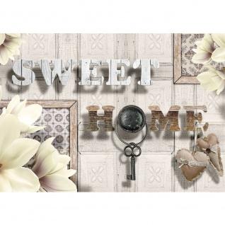 Fototapete Schriftkunst Tapete Schriftzug Home Schlüssel Herz Blume beige   no. 2425