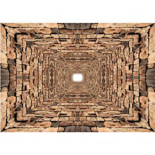 liwwing Vlies Fototapete 208x146cm PREMIUM PLUS Wand Foto Tapete Wand Bild Vliestapete - Steinwand Tapete Steine Mauer Steinmauer Tunnel braun - no. 2519 - Vorschau 2