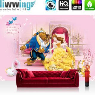 liwwing Fototapete 368x254 cm PREMIUM Wand Foto Tapete Wand Bild Papiertapete - Disney Tapete Disney - Die Schöne und das Biest Kindertapete Cartoon Schloss rosa - no. 1081