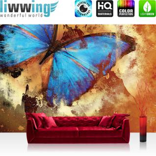 liwwing Fototapete 254x168 cm PREMIUM Wand Foto Tapete Wand Bild Papiertapete - Kunst Tapete Abstrakt Schmetterling Farben Malerei Kunst blau - no. 536