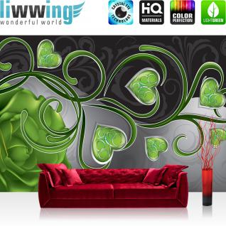 liwwing Vlies Fototapete 152.5x104cm PREMIUM PLUS Wand Foto Tapete Wand Bild Vliestapete - Ornamente Tapete Rose Herz Liebe Schnörkel Ranke grün - no. 1938