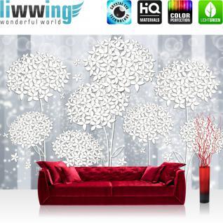 liwwing Vlies Fototapete 416x254cm PREMIUM PLUS Wand Foto Tapete Wand Bild Vliestapete - Kunst Tapete Blumen Blätter Blüten Blasen Streifen grau - no. 2286