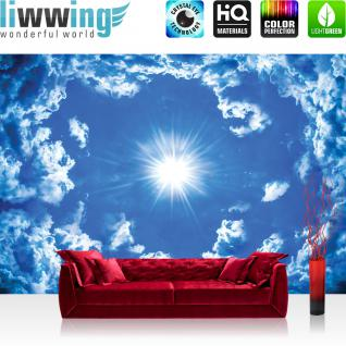 liwwing Fototapete 254x168 cm PREMIUM Wand Foto Tapete Wand Bild Papiertapete - Himmel Tapete Wolke Wolken Sonne Licht Strahlen blau - no. 2459