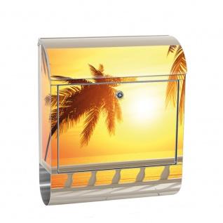 Edelstahl Wandbriefkasten XXL mit Motiv & Zeitungsrolle | Sonnenaufgang Meer Strand Sonnenuntergang Palme | no. 0123