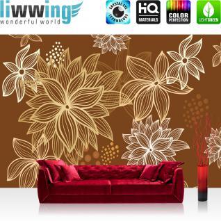 liwwing Vlies Fototapete 400x280 cm PREMIUM PLUS Wand Foto Tapete Wand Bild Vliestapete - Illustrationen Tapete Abstrakt Blüten weiß braun - no. 1108