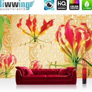 liwwing Vlies Fototapete 312x219cm PREMIUM PLUS Wand Foto Tapete Wand Bild Vliestapete - Steinwand Tapete Steinoptik Steine Orchidee Blume ocker - no. 1953