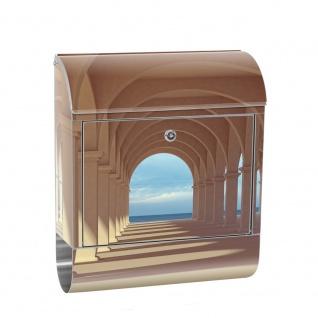 Edelstahl Wandbriefkasten XXL mit Motiv & Zeitungsrolle | Romantic 3D Perspektive Säulengang Arkade | no. 0069
