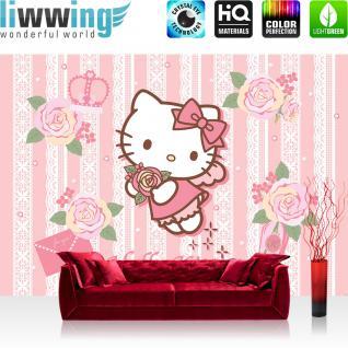 liwwing Vlies Fototapete 350x245 cm PREMIUM PLUS Wand Foto Tapete Wand Bild Vliestapete - Mädchen Tapete Hello Kitty - Kindertapete Cartoon Katze Rosen Brief Krone Liebe rosa - no. 518