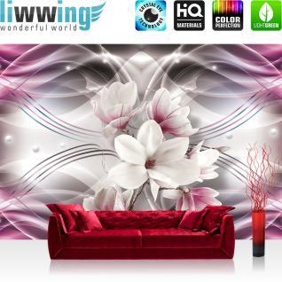 liwwing Vlies Fototapete 208x146cm PREMIUM PLUS Wand Foto Tapete Wand Bild Vliestapete - Illustrationen Tapete Magnolia Blume Pflanze Illustration rosa - no. 1892