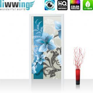 liwwing Türtapete selbstklebend 91x211 cm PREMIUM PLUS Tür Fototapete Türposter Türpanel Foto Tapete Bild - Ornamente Blumen - no. 304