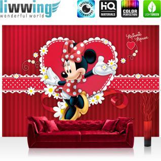 liwwing Vlies Fototapete 312x219cm PREMIUM PLUS Wand Foto Tapete Wand Bild Vliestapete - Disney Tapete Minnie Mouse Girls Kids Kindertapete Cartoons Comic rot - no. 1300