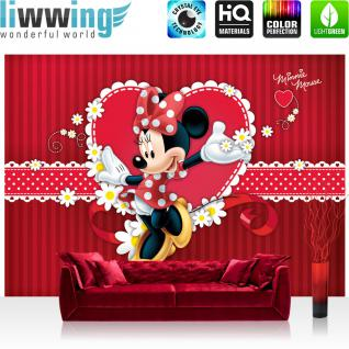 liwwing Vlies Fototapete 416x254cm PREMIUM PLUS Wand Foto Tapete Wand Bild Vliestapete - Disney Tapete Minnie Mouse Girls Kids Kindertapete Cartoons Comic rot - no. 1300