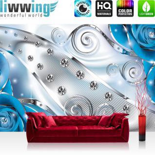 liwwing Vlies Fototapete 312x219cm PREMIUM PLUS Wand Foto Tapete Wand Bild Vliestapete - Blumen Tapete Blüten Rosen Diamanten Schnörkel Kunst blau - no. 2645