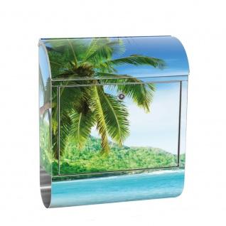 Edelstahl Wandbriefkasten XXL mit Motiv & Zeitungsrolle | Strand Meer Palmen Beach 3D Ozean Palme | no. 0005