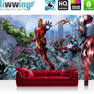 liwwing Vlies Fototapete 400x280 cm PREMIUM PLUS Wand Foto Tapete Wand Bild Vliestapete - Illustrationen Tapete Marvel - AVENGERS - Assemble - Kindertapete Cartoon Kämpfer grau - no. 1134