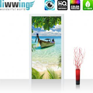 liwwing Türtapete selbstklebend 91x211 cm PREMIUM PLUS Tür Fototapete Türposter Türpanel Foto Tapete Bild - Strand Meer Boot Palme Wolken - no. 649