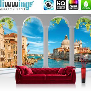 liwwing Vlies Fototapete 312x219cm PREMIUM PLUS Wand Foto Tapete Wand Bild Vliestapete - Venedig Tapete Terrasse Balkon Bogen Venedig Fluß Dom Häuser Gondeln weiß - no. 1996