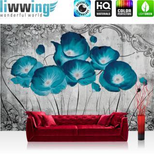 liwwing Vlies Fototapete 312x219cm PREMIUM PLUS Wand Foto Tapete Wand Bild Vliestapete - Blumen Tapete Natur Pflanzen Muster Malerei Texturen Holzwand blau - no. 2351