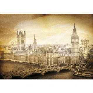 Fototapete London Tapete Big Ben Tower Wasser Brücke England Vintage sepia   no. 2291