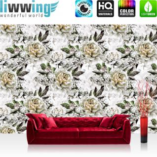 liwwing Vlies Fototapete 368x254cm PREMIUM PLUS Wand Foto Tapete Wand Bild Vliestapete - Blumen Tapete Rosen Blüten Natur weiß - no. 3550
