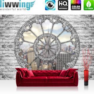 liwwing Vlies Fototapete 312x219cm PREMIUM PLUS Wand Foto Tapete Wand Bild Vliestapete - Steinwand Tapete Steinoptik Empire State Building New York Fenster Skyline grau - no. 2881