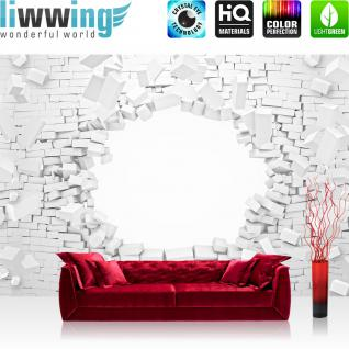 liwwing Vlies Fototapete 208x146cm PREMIUM PLUS Wand Foto Tapete Wand Bild Vliestapete - Steinwand Tapete Stein Steinoptik Steine Durchbruch Loch weiß - no. 1394