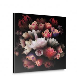 Leinwandbild Blume Bunte Rose Dunkelheit Bukett | no. 4324 - Vorschau 1