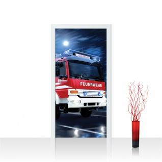 Türtapete - Feuerwehr Auto Nacht Mond | no. 535