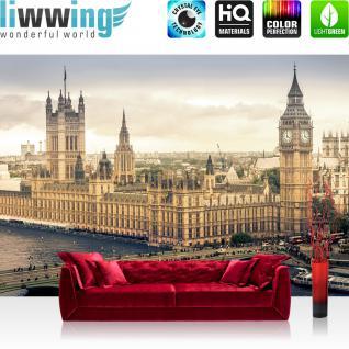 liwwing Vlies Fototapete 416x254cm PREMIUM PLUS Wand Foto Tapete Wand Bild Vliestapete - London Tapete Skyline Big Ben Fluss Brücke sepia - no. 1409