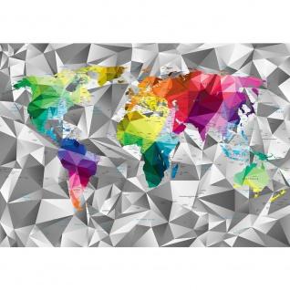 Fototapete Städte & Länder Tapete Design Modern Karte Landkarte Welt Geometrie Länder Text bunt | no. 4408