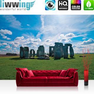 liwwing Vlies Fototapete 350x245 cm PREMIUM PLUS Wand Foto Tapete Wand Bild Vliestapete - Architektur Tapete Stonehenge Felsen Wiese Wolken Architektur Himmel grün - no. 301