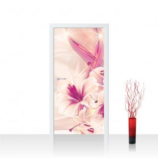 Türtapete - Abstrakt Sterne Blume Blüte Streifen | no. 942