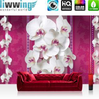 liwwing Vlies Fototapete 416x254cm PREMIUM PLUS Wand Foto Tapete Wand Bild Vliestapete - Ornamente Tapete Orchideen Blume Floral Natur pink - no. 1201