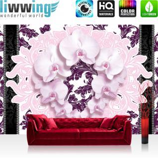 liwwing Vlies Fototapete 416x254cm PREMIUM PLUS Wand Foto Tapete Wand Bild Vliestapete - Orchideen Tapete Blumen Blüten Streifen Orchideen rosa - no. 2104