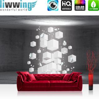 liwwing Vlies Fototapete 312x219cm PREMIUM PLUS Wand Foto Tapete Wand Bild Vliestapete - 3D Tapete Raum Steinwand Steine Rechtecke Würfel Federn 3D Optik grau - no. 2046
