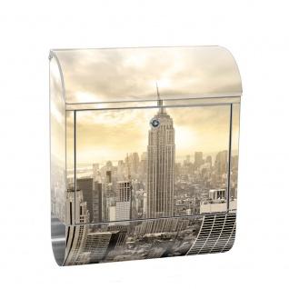 Edelstahl Wandbriefkasten XXL mit Motiv & Zeitungsrolle | New York USA Skyline Empire State Building | no. 0037