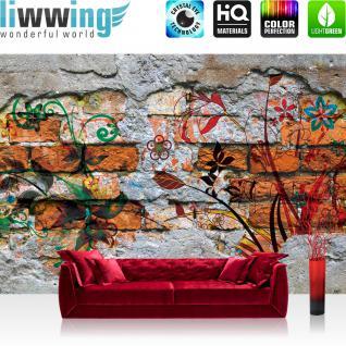 liwwing Vlies Fototapete 208x146cm PREMIUM PLUS Wand Foto Tapete Wand Bild Vliestapete - Steinwand Tapete Steine Steinoptik Malerei Blumen Blätter grau - no. 1931