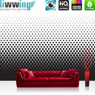 liwwing Vlies Fototapete 350x245 cm PREMIUM PLUS Wand Foto Tapete Wand Bild Vliestapete - Illustrationen Tapete Abstrakt Ornamente Punkte Muster schwarz - weiß - no. 402
