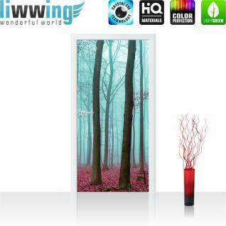 liwwing Türtapete selbstklebend 91x211 cm PREMIUM PLUS Tür Fototapete Türposter Türpanel Foto Tapete Bild - Bäume Wald Laub Nebel - no. 818