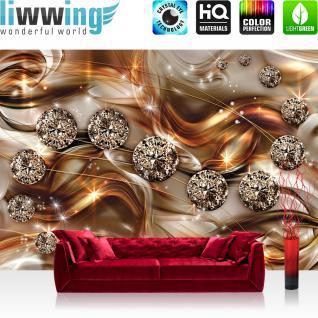 liwwing Vlies Fototapete 208x146cm PREMIUM PLUS Wand Foto Tapete Wand Bild Vliestapete - Ornamente Tapete Diamanten Brillanten Sterne gold - no. 3369